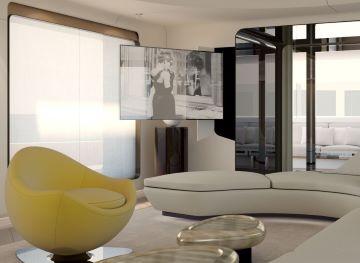 Sistema di movimentazione tv per installazione a scomparsa da parete
