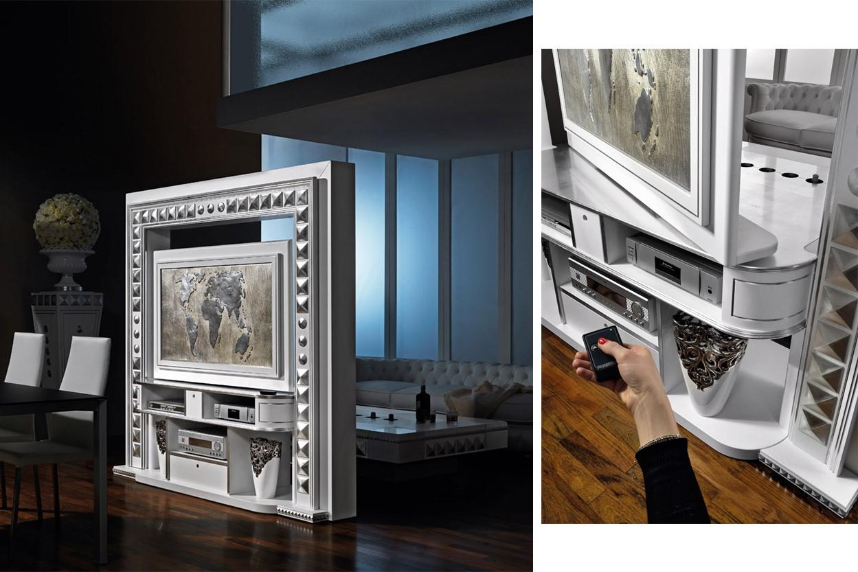Meccanismi girevoli installato su mobile porta tv rotante di Vismara Design